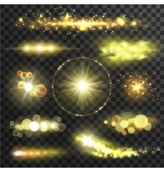 Golden glittering stars with lens flare effect vector image