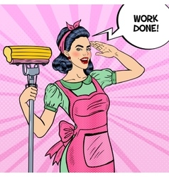 Pop art housewife woman cleaning house with mop vector