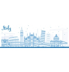 Outline italy skyline with blue landmarks vector