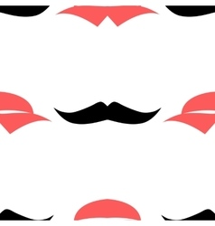 Lips and mustache seamless pattern vector