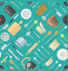 Seamless pattern with kitchenware vector