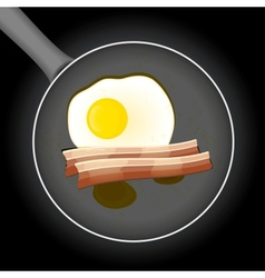 Fried egg and beacon in a frying pan with oil vector