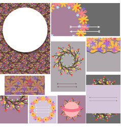 Set of floral cards for birthday wedding vector