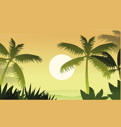 forest scenery with palm silhouettes vector image
