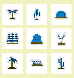 Set of labels with shadow flat icon plants vector