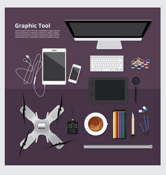 Graphic tool workspace isolated vector