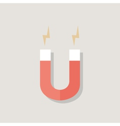 Red magnet over light grey vector
