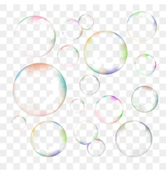 Set of transparent soap bubbles vector image