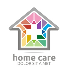 Logo home care healthy rainbow symbol buildings vector
