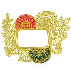 Doodle floral frame vector image