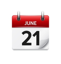June 21  flat daily calendar icon date vector