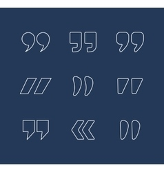 Quote marks outline icons vector