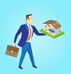 Real estate agent with a house model for sale vector
