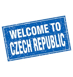 Czech republic blue square grunge welcome to stamp vector
