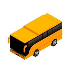 Yellow bus in isometric projection flat style vector