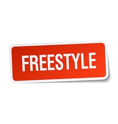 Freestyle red square sticker isolated on white vector