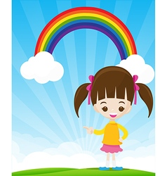 Cute little girl pointing the finger on sunburst vector