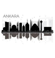 Ankara city skyline black and white silhouette vector