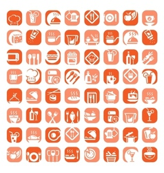 big color kitchen icons set vector image vector image