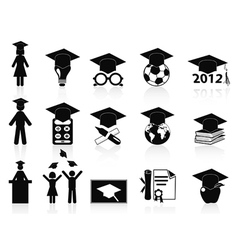 Black graduation icons set vector