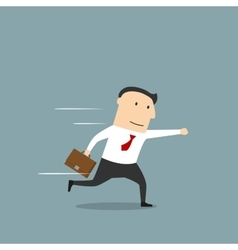 Businessman running in hurry to work vector image