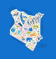cartoon map of kenya vector image vector image