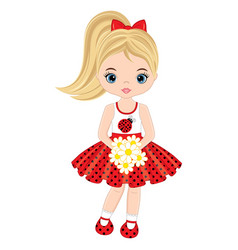 Cute little girl with flowers vector