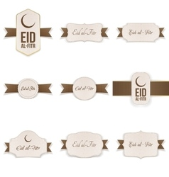 Eid al-fitr realistic banners set with text vector