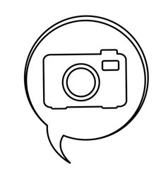 figure bubbles with camera symbol icon vector image