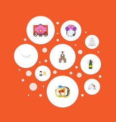 Flat icons couple jewelry pigeon and other vector