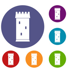 fortress tower icons set vector image