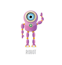 Funny cartoon purple friendly robot vector