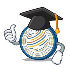 Graduation factom coin character cartoon vector