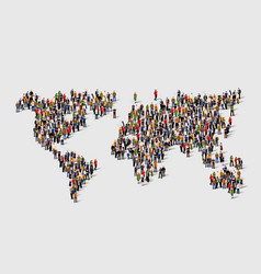 group of people in form of world map vector image