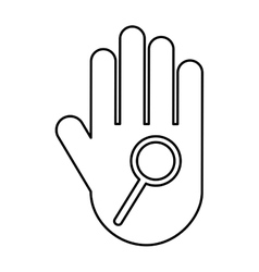 Hand human with magnifying glass silhouette icon vector