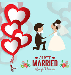 Lovely sweet couple wedding vector