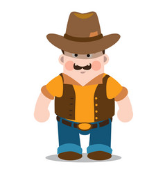 Middle aged man wearing jeans shirt and cowboy vector