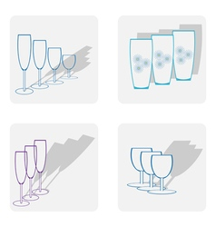 monochrome icon set with stemware vector image