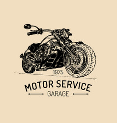 Motorcycle advertising poster sketched vector