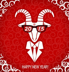 New year goat wear in business suit and glasses vector image