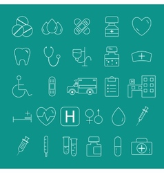 Outlined Medical Icons Set Collection trendy thin vector image