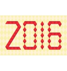 Red numbers of year 2016 made from triangles vector image vector image