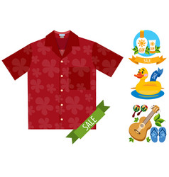 sale shirt cosmetics guitar beach flip flops vector image vector image