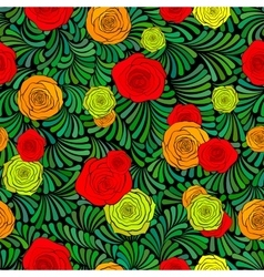 Seamless pattern with beautiful roses and abstract vector image