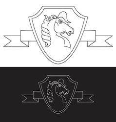 Strong logo in view horse vector
