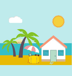 summer beach beach house on palms and sea vector image