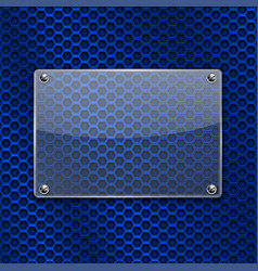 Transparent glass plate on metal perforated vector