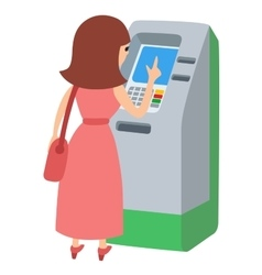 Woman using ATM machine icone vector image vector image