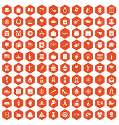 100 calendar icons hexagon orange vector
