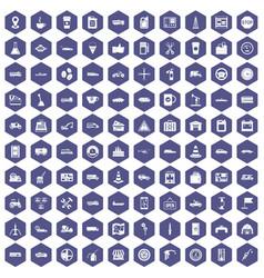 100 gas station icons hexagon purple vector